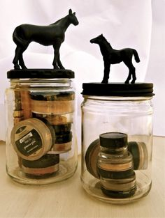 DIY Horse/Animal Jars. I post a lot of plastic animal crafts (see here), but instead of metallic or bright colored spray paint, a modern matte black. Another cheap gift idea. Tutorial at Modern Design Life here.