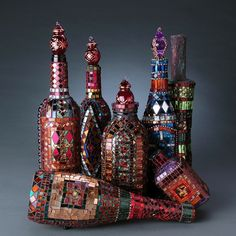 Bejeweled idea, crafti, mosaics, mosaic bottl, laurel skye, mosaic artist, glass, favorit mosaic, wine bottles
