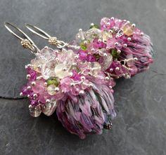 Gemstone earrings glass bead earrings clover by seafairiesjewelbox, $118.00