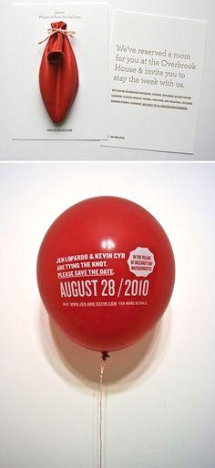 balloon wedding / save-the-date invitation