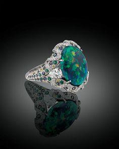 Lightning Ridge Black Opal Ring
