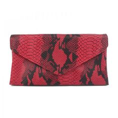 I would use this Faux Python Envelope Clutch in red to add a pop of color to a more basic outfit. #AutumnTones