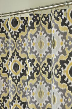 Yellow Grey Ikat Shower Curtain