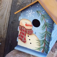 Hand Painted Birdhouse Primitive Snowman Pine by ThePrairieCottage, $25.00
