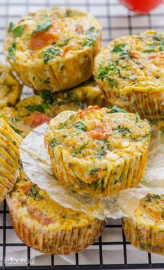 Healthy Sundried Tomato, Spinach and Quinoa Egg Muffins.