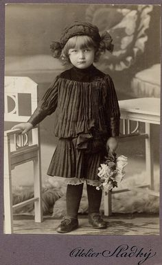 :::::::: Antique Photograph :::::::::   Beautifully clear and detailed image of a young girl taken in Moravia, Czechia.  CIrca 1910