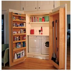 love this storage idea. use a deep enough cupboard