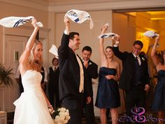 Wedding Towels for the Bride and Groom can be a great wedding favor for your guests and they make for an awesome entrance to the reception.  We can custom design yours today at SportsThemedWeddings.com  #baseballwedding  #weddingtowels