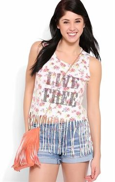 Deb Shops #Floral Tank Top with Live Free Screen and Fringe $14.25