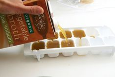 kitchen tricks, kitchen hacks, broth, ice cubes, incred kitchen, foods on trays, ice cube trays