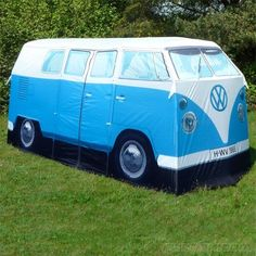 Want to go camping but don't have a van?? I've found the perfect tent for you!! - Replica 1965 Volkswagen Camper Van 4-person Tent - Licesnsed by VW (Blue) by Volkswagen