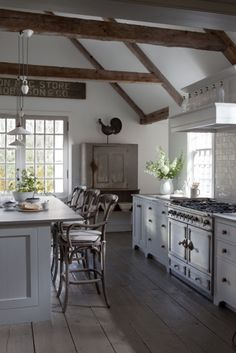 great country style kitchen  ....spacious with beams.