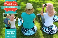 Water Resistant Lawn Cushions with Carry Duffle: Outdoor Living with Fabric.com   Sew4Home