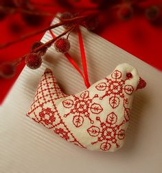 Red Bird Christmas Ornament by CherieWheeler on Etsy