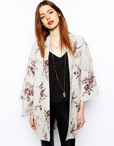 Image 1 ofASOS Kimono in Mixed Floral Print