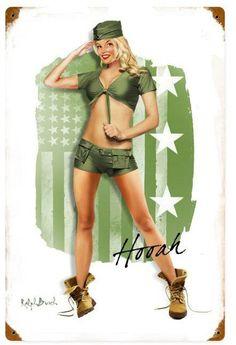 Army Girl  Metal Sign 12 x 18 Inches, $29.98 #vintage #retro #nostalgia #tinsign #homedecor #pinup