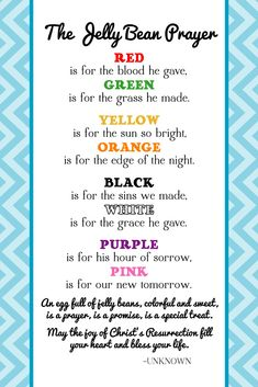 The Creative World of Great Day Graphics & Design: FREE Printable Jelly Bean Prayer for Easter for Easter Gifts or Crafts