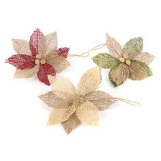 Burlap Poinsettia Ornament
