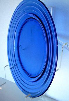 Vintage Hazel Atlas Plate Cobalt Blue Depression Moderntone1940s
