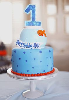 What a great cake at a Goldfish birthday party!  See more party ideas at CatchMyParty.com!