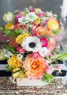 Yellow, pink and orange florals | Photos by Cassandra Castaneda | 100 Layer Cake