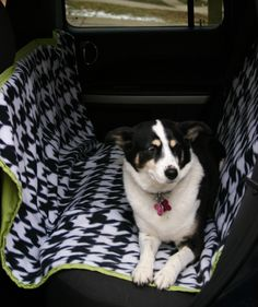 Make your own hammock-style car seat cover. The hammock style keeps the dog from getting hurt if he or she falls during any sudden stops or starts. Get the pattern here.
