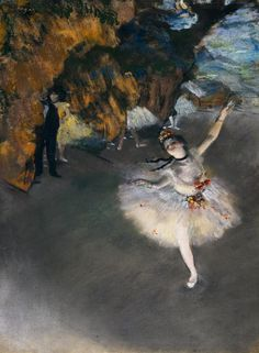 The Star, or Dancer On The Stage • Edgar Degas, 1876-77 {Pastel}.
