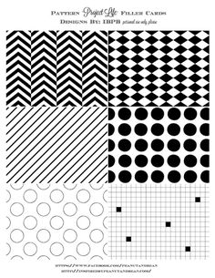 Printable -- Black & White Pattern Filler Cards. TIP: Print on white & Kraft cardstock for two totally different looks! -CLM