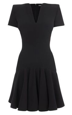#Black Deep V-neck Short Sleeve Flare #Mini #Dress //  PS: more pictures inside