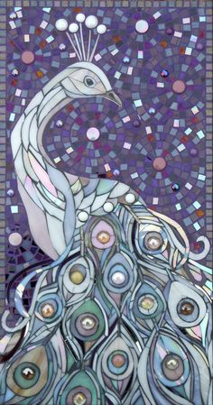 White Peacock Glass Mosaic   Very nice! I really like the quill or feathers and the purple background.