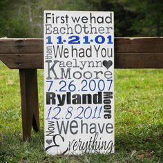 Personalized Family Name Sign Birth Dates by AmberMooreDesigns