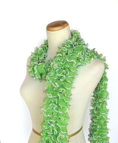 Lime Green Hand Knit Ruffled Scarf - so pretty for spring.
