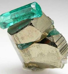 Emerald crystals with Pyrite