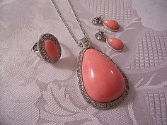 Pink Coral Earrings Necklace Ring Silver Tone Vintage Avon Pale Fire