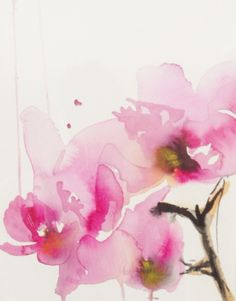 """Saatchi Online Artist: Karin Johannesson, Canada; Watercolor, 2013, Painting """"Orchid study II"""""""