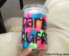Party Puffs, kind of like the bead or marble jar. Compliment jar, compliments from me i party puff, compliments from other teachers 2 party puffs, compliments from Mersedeh or Kristin, 10 party puffs.  May ask Mersedeh to come in the first week and let her know about the system to get the kids on board. parti puff, parti foul, jar, busi bee
