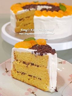 Mandarin Orange Chiffon Cake with Chocolate Shavings