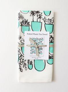 Potted Plants Tea Towel - www.babasouk.ca