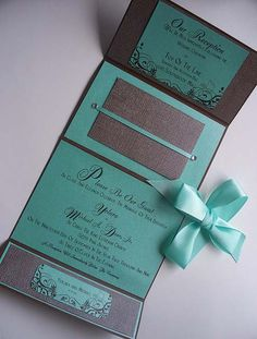 wedding #invitation cards - pretty #turquoise wedding invite with bow