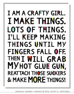 Crafty Girl Typographic Print. Craft Room Decor. Craft Room Sign. Funny Craft Studio Wall Art. Colorful Gift For Crafter. DIY Quote Poster.