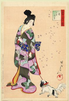 Woman Walking Her Dog Amidst Falling Cherry Petals | Tattoo Ideas & Inspiration - Japanese Art | Chikanobu, 1899, the SetsuKekka (Snow, Moon and Flowers) Series | #Japanese #Art