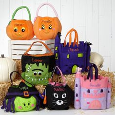 LOVE LOVE LOVE all of these adorable Personalized Halloween Trick-or-Treat Bags!