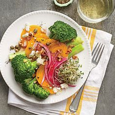 Broccoli, Beet, and Pickled Onion Salad | Cooking Light #myplate #fruit #veggies #dairy