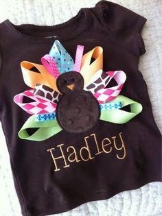 sewing ribbon on tshirts, little girls, thanksgiving turkey, applique baby, craft, tee shirts, thanksgiv shirt, feather, kid