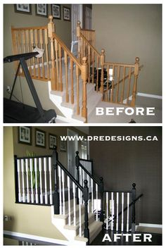 Andrea Guerriero - DRE DESIGNS www.dredesigns.ca www.facebook.com/dredesigns.ca  Client's space changed simply by painting the staircase, adding laminate flooring and one accent wall in wallpaper... HUGE transformation and much more up to date