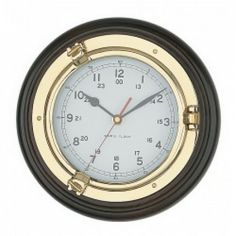 Wood and Brass Porthole Clock | 9.5 inch diameter