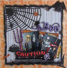 Halloween - BOO- - Scrapbook.com  This distressing on this layout was done with the Tim Holtz Paper Distresser.
