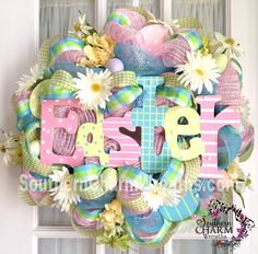 Easter deco mesh wreath by www.southerncharmwreaths.com #decomesh #wreath