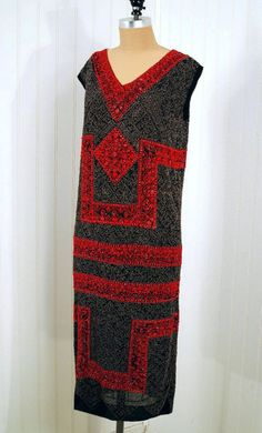 "1920s ""Bab"" Couture Ruby-Red and Metallic-Gold Beaded Art-Deco Black Chiffon Evening Dress. From TimelessVixenVintage."