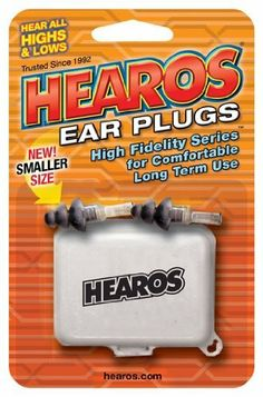 """Hearos Earplugs High Fidelity Series for Comfortable Long Term Use with Free Case, 1 Package by Hearos. $12.34. HEAROS High Fidelity Series for Long Term Use utilizes the same """"flat attenuation"""" technology to deliver all highs and lows in a size that facilitates long term wear at any high decibel event.  Washable, reusable and comes with a free carrying case.  For those that are serious about protecting their hearing and hearing sound naturally, the HEAROS High Fide..."""